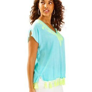 Lilly Pulitzer Kathleen Tunic Blue Lime Tassel S/M